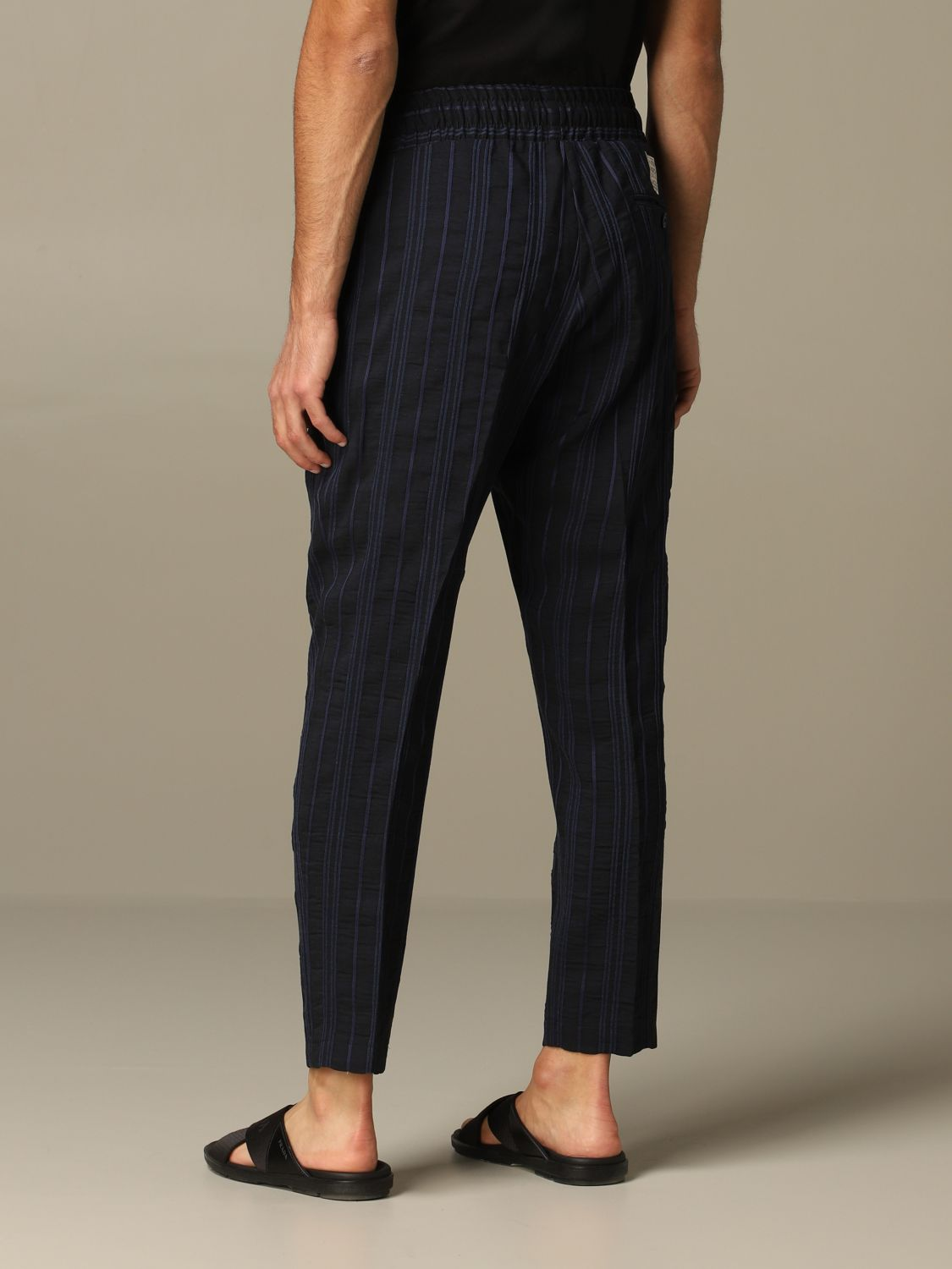 Pants Alessandro Dell'acqua: Alessandro Dell'acqua trousers in striped linen blend blue 2