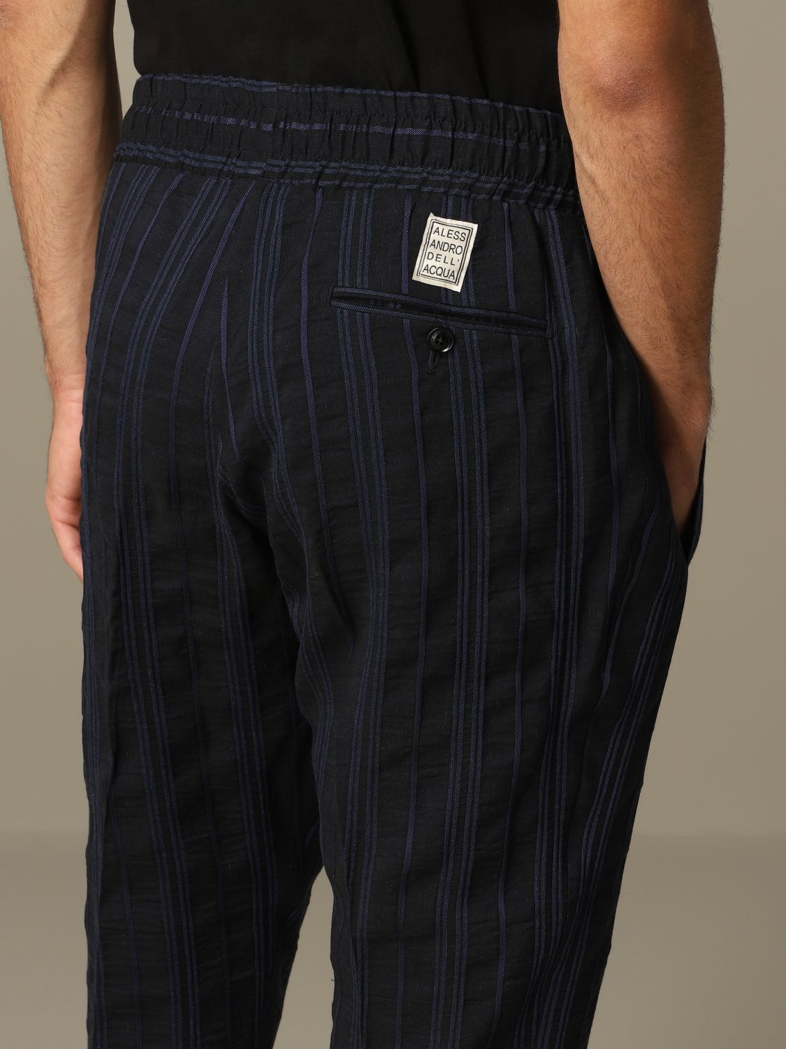 Pants Alessandro Dell'acqua: Alessandro Dell'acqua trousers in striped linen blend blue 3
