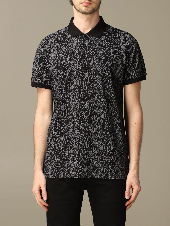 Sweater Alessandro Dell'acqua: Alessandro Dell'acqua polo shirt in leaf patterned cotton black 1