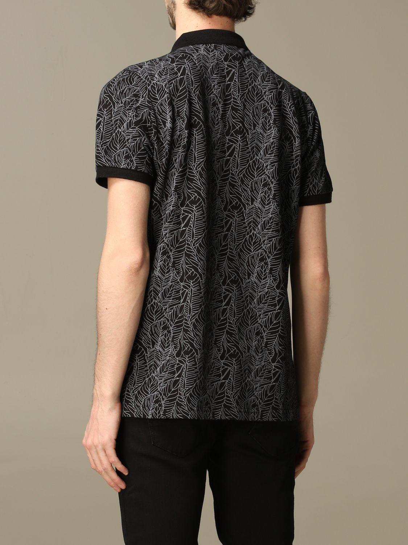 Sweater Alessandro Dell'acqua: Alessandro Dell'acqua polo shirt in leaf patterned cotton black 2