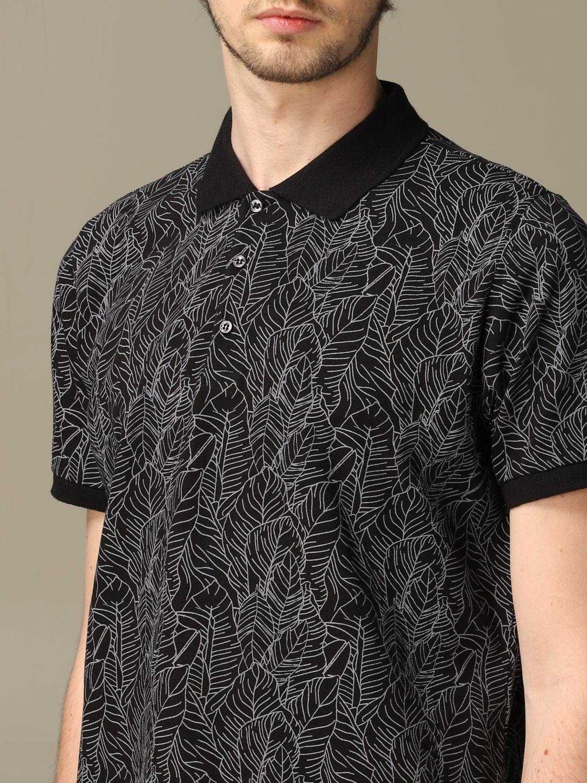 Sweater Alessandro Dell'acqua: Alessandro Dell'acqua polo shirt in leaf patterned cotton black 3