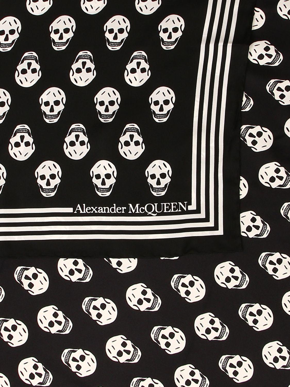Foulard Alexander Mcqueen: Foulard Alexander McQueen in seta con teschi all over nero 3
