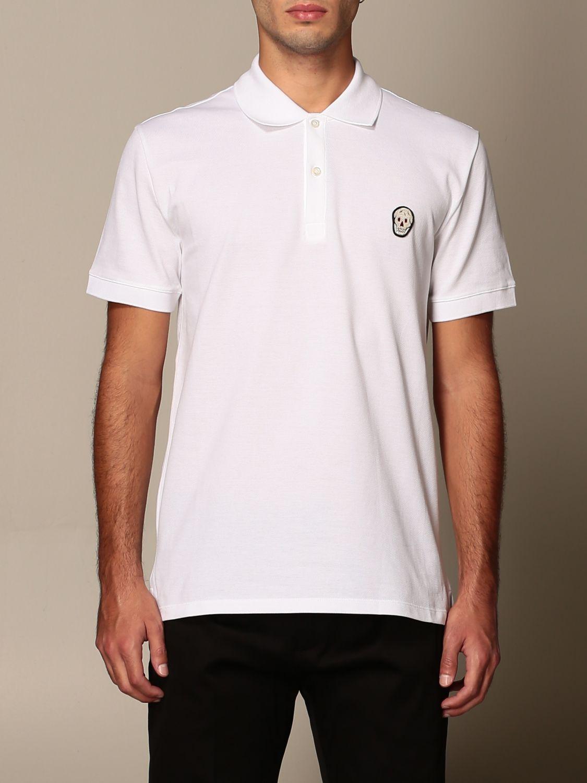 T-shirt Alexander Mcqueen: Polo Alexander McQueen in cotone con logo bianco 1