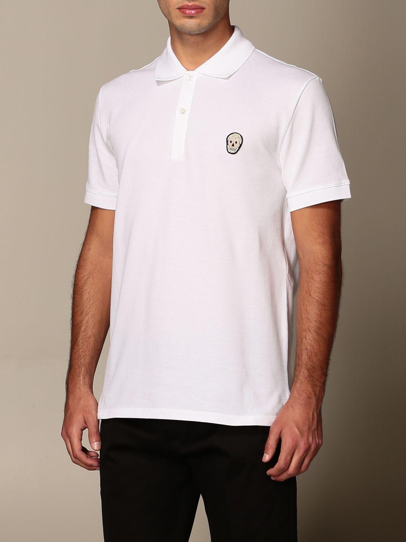 T-shirt Alexander Mcqueen: Polo Alexander McQueen in cotone con logo bianco 4