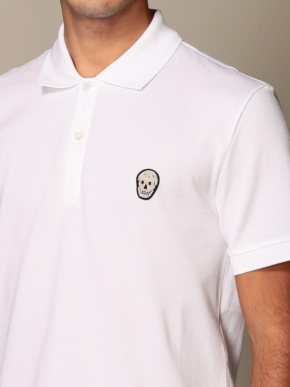 T-shirt Alexander Mcqueen: Polo Alexander McQueen in cotone con logo bianco 5