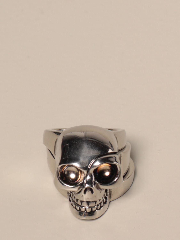 Gioielli Alexander Mcqueen: Anello Skull Alexander McQueen componibile silver 1
