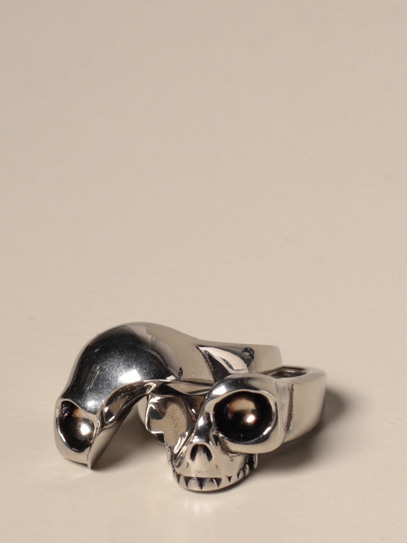 Gioielli Alexander Mcqueen: Anello Skull Alexander McQueen componibile silver 2