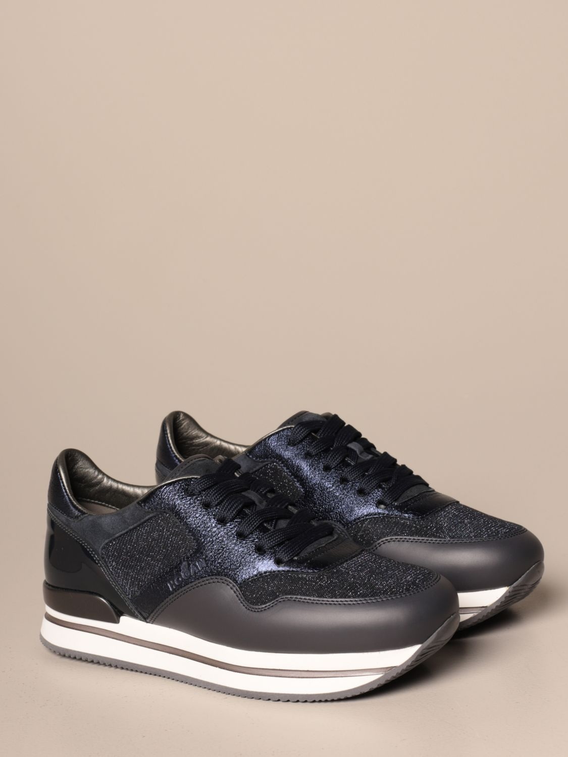 H222 running Hogan leather and lurex fabric sneakers