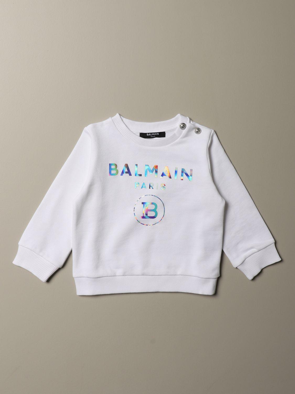 Maglia Balmain: Felpa Balmain cropped con logo cangiante bianco 1