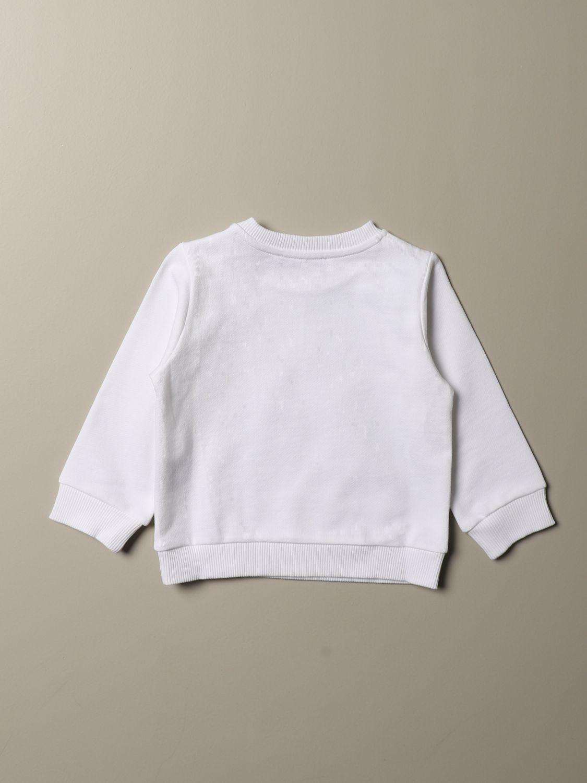 Maglia Balmain: Felpa Balmain cropped con logo cangiante bianco 2