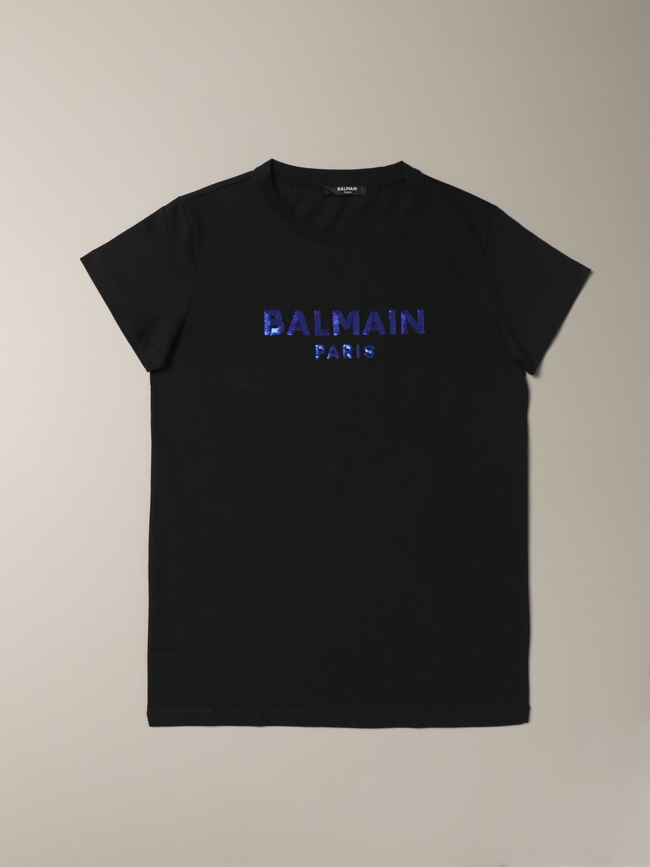 T-shirt Balmain: T-shirt Balmain in cotone con logo nero 1 1