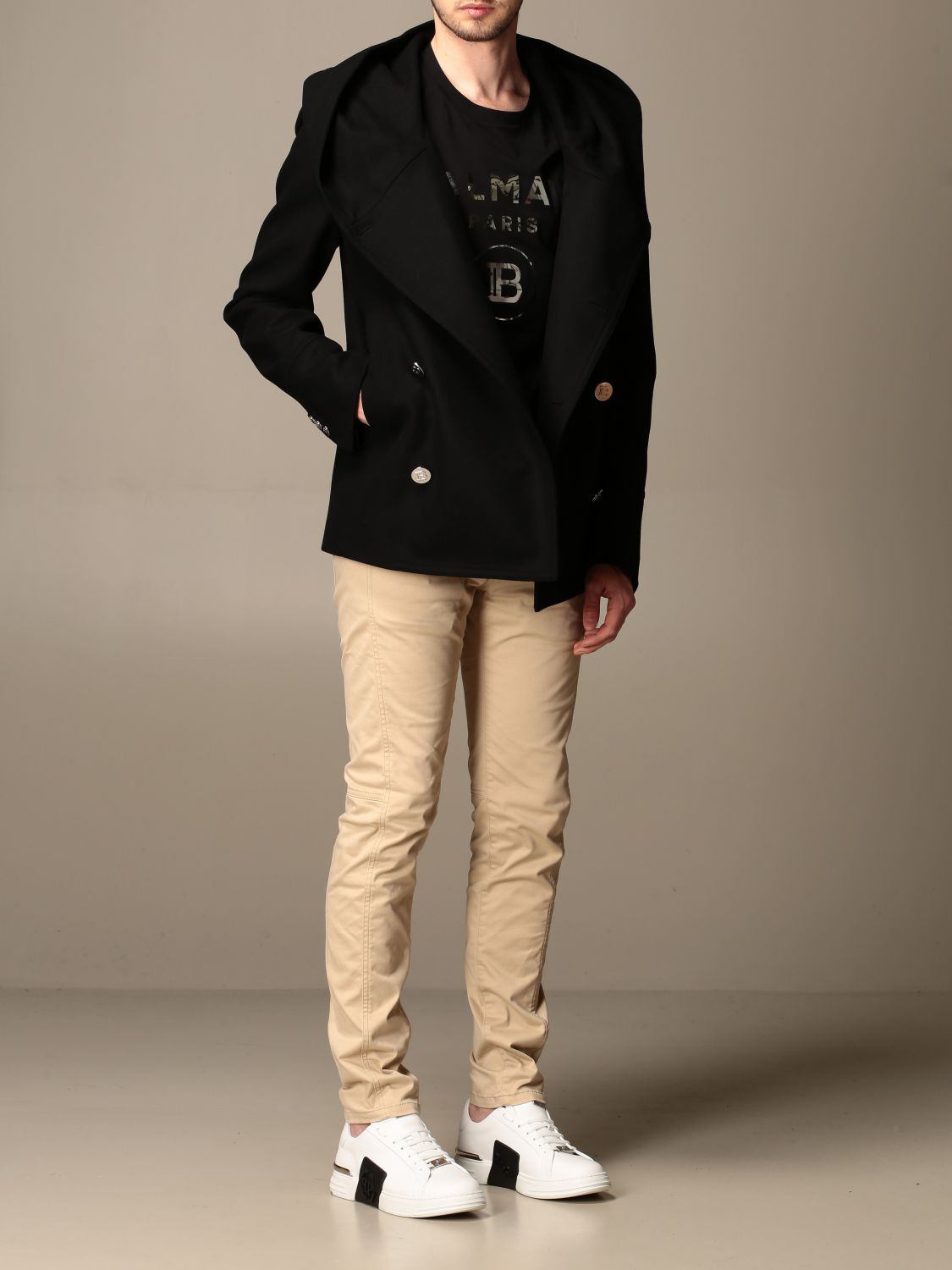 Coat Balmain: Coat men Balmain black 2