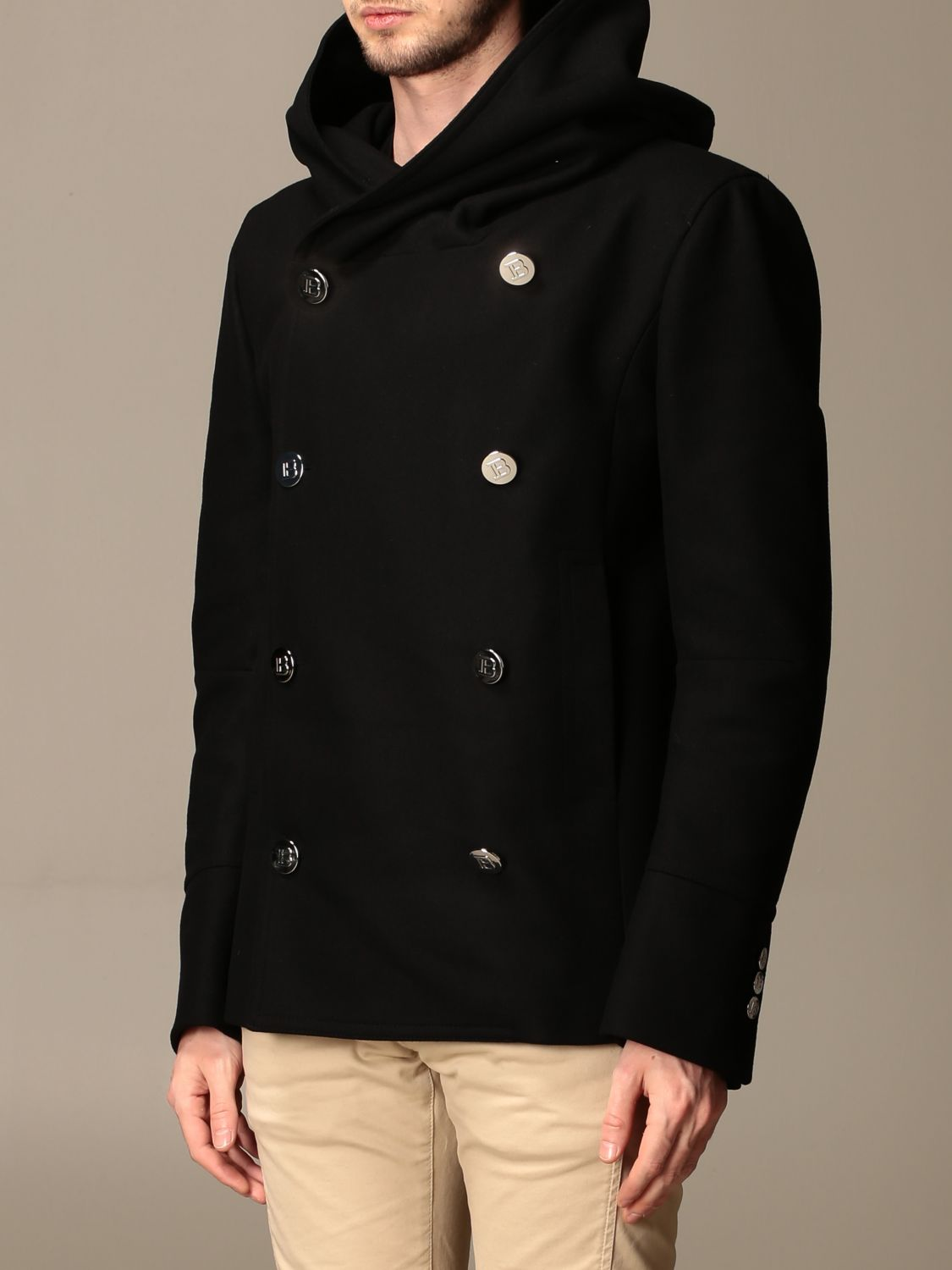 Coat Balmain: Coat men Balmain black 4