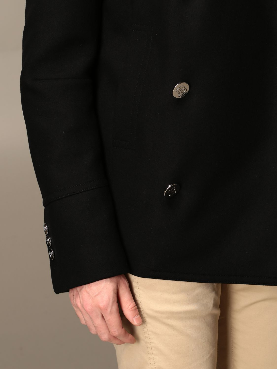 Coat Balmain: Coat men Balmain black 5