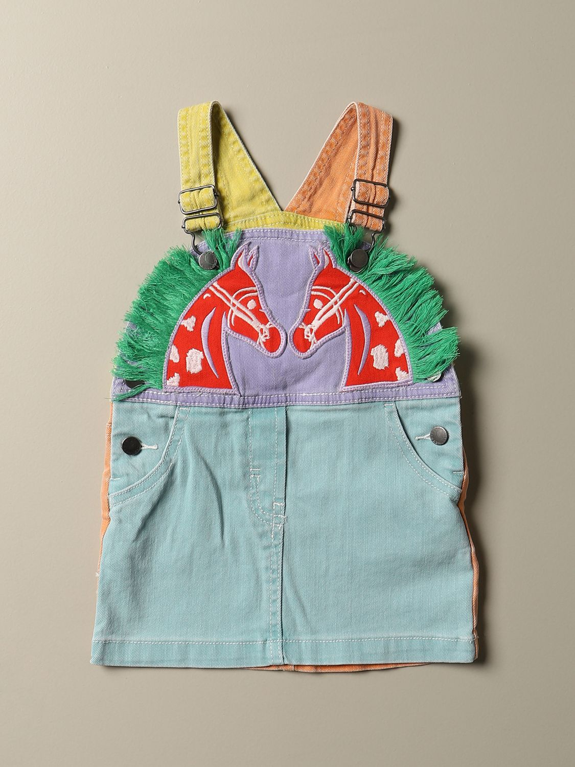 Tracksuit Stella Mccartney: Dungaree dress in colored denim with horse patch multicolor 1