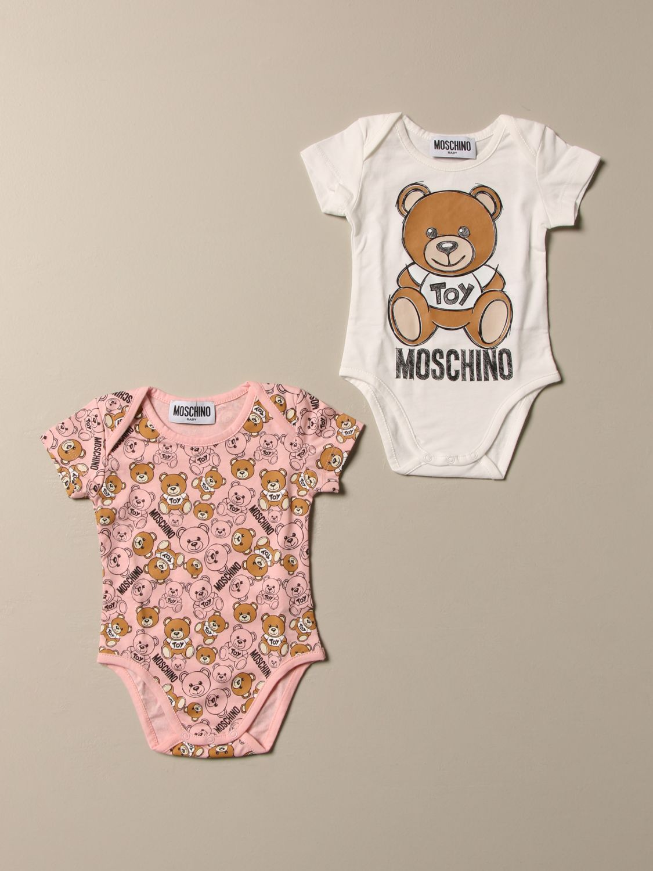 Bodysuit Moschino Baby: Set of 2 Moschino Baby cotton bodysuits pink 1