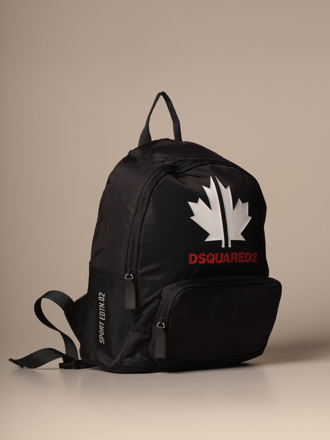 Duffel Bag Dsquared2 Junior: Dsquared2 Junior backpack in nylon with maple leaf black 3