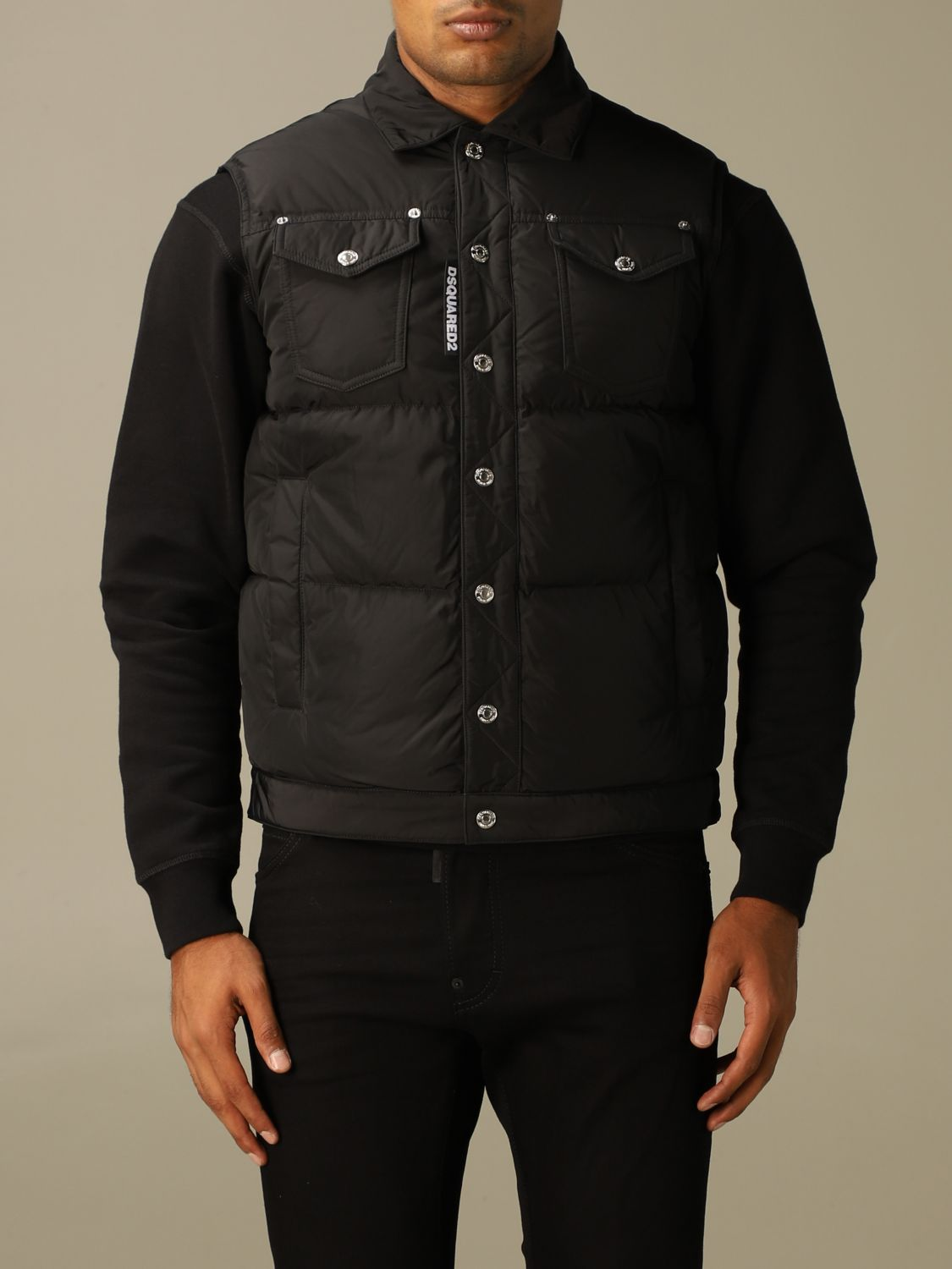 Sweater Dsquared2: Dsquared2 padded vest in nylon black 1