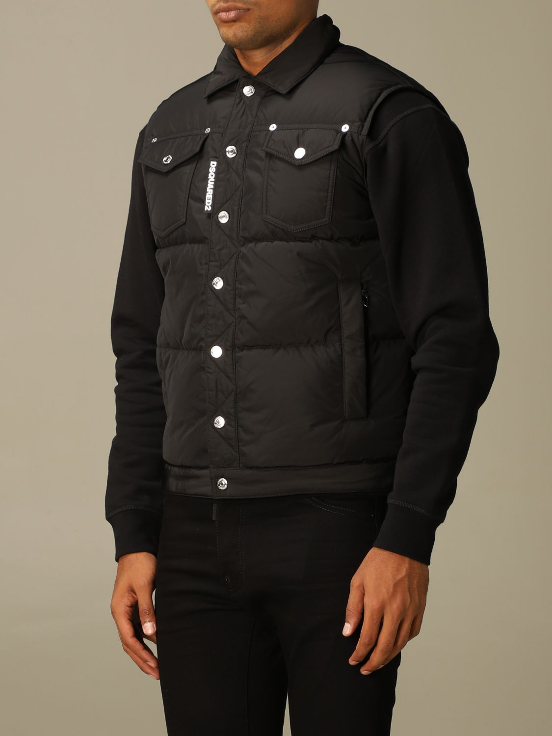Sweater Dsquared2: Dsquared2 padded vest in nylon black 4