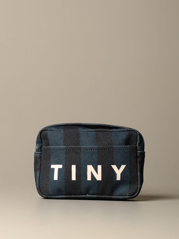 Borsa Tiny Cottons: Marsupio Tiny Cottons in cotone a fasce con logo blue 1