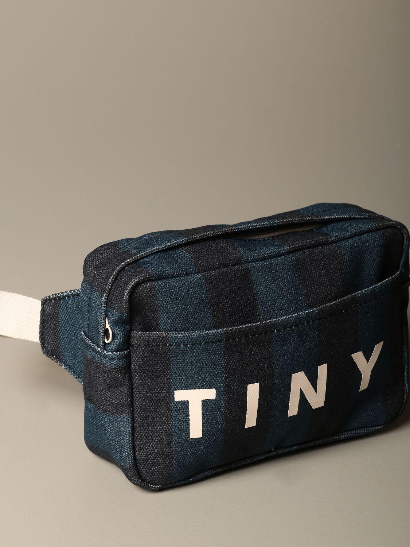 Borsa Tiny Cottons: Marsupio Tiny Cottons in cotone a fasce con logo blue 3