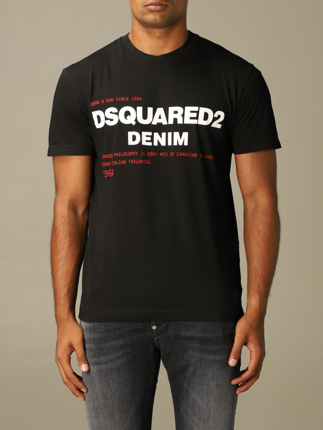 T-shirt Dsquared2: Dsquared2 crew-neck t-shirt with denim print black 1