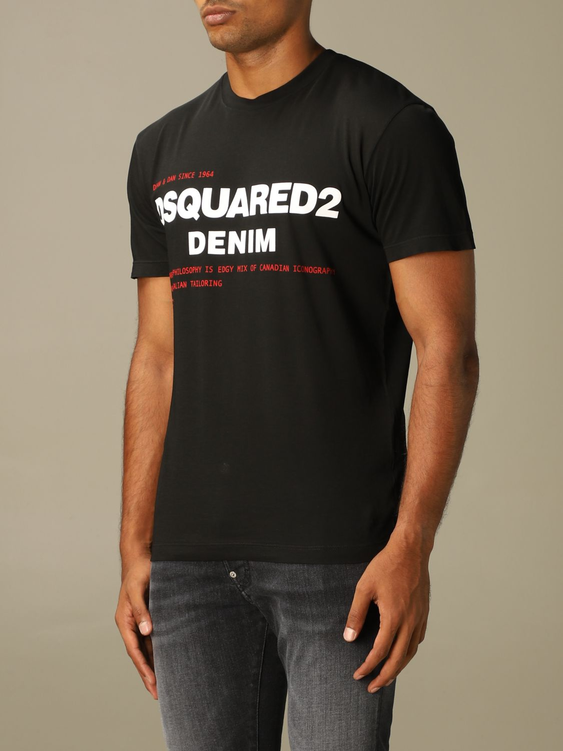 T-shirt Dsquared2: Dsquared2 crew-neck t-shirt with denim print black 3