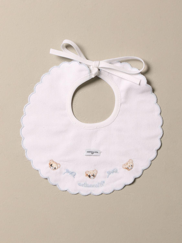 Bibs girl Monnalisa: Monnalisa cotton bib with embroidered bears sky blue 2