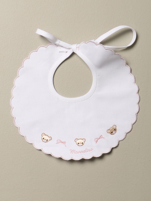 Bibs girl Monnalisa: Monnalisa cotton bib with embroidered bears yellow cream 1