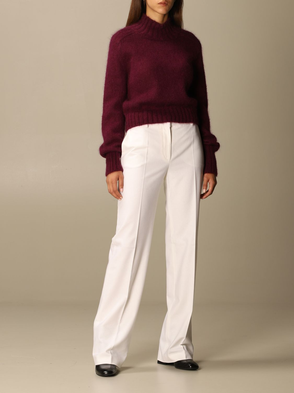 Pantalone Alberta Ferretti: Pantalone Chino Alberta Ferretti in misto lana e cashmere bianco 2