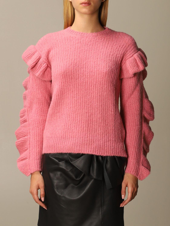 Maglia Red Valentino: Maglione Red Valentino in misto Alpaca e lana con rouches rosa 1