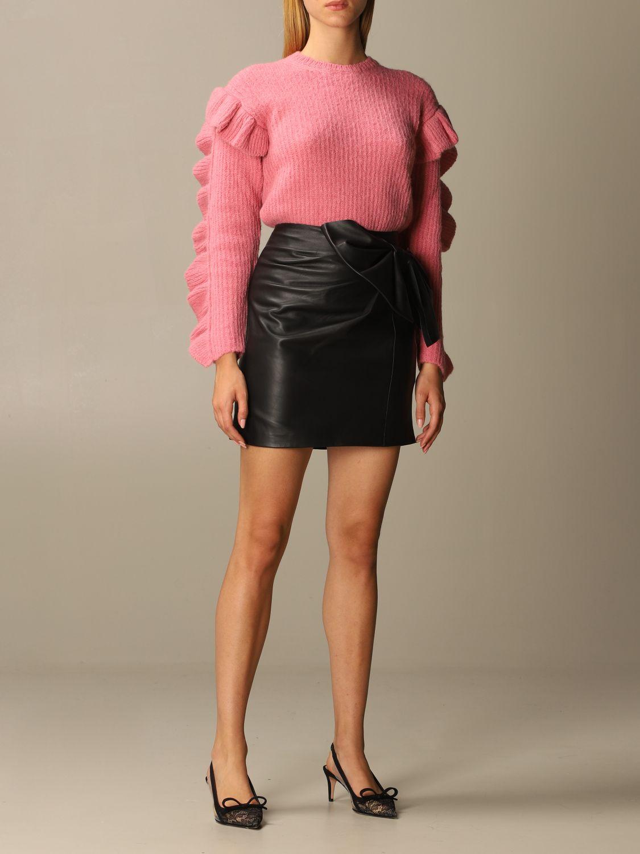 Maglia Red Valentino: Maglione Red Valentino in misto Alpaca e lana con rouches rosa 2