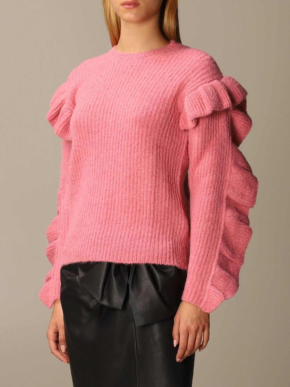 Maglia Red Valentino: Maglione Red Valentino in misto Alpaca e lana con rouches rosa 4