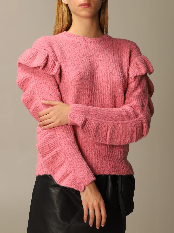 Maglia Red Valentino: Maglione Red Valentino in misto Alpaca e lana con rouches rosa 5