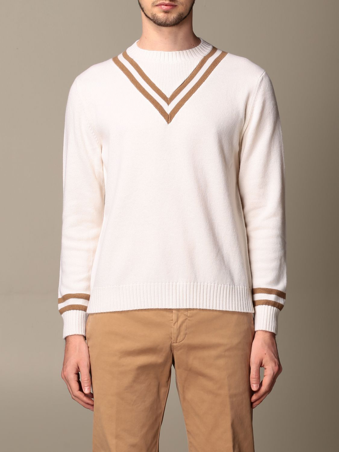 Sweater Eleventy: Eleventy v-shaped wool pullover beige 1