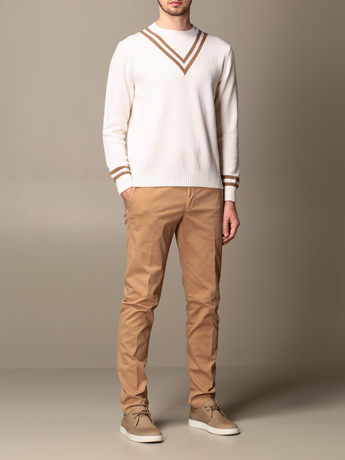 Sweater Eleventy: Eleventy v-shaped wool pullover beige 2