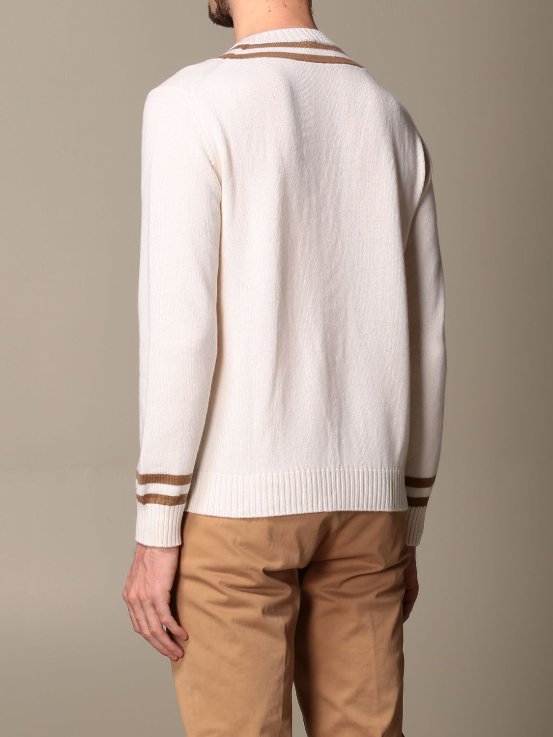 Sweater Eleventy: Eleventy v-shaped wool pullover beige 3