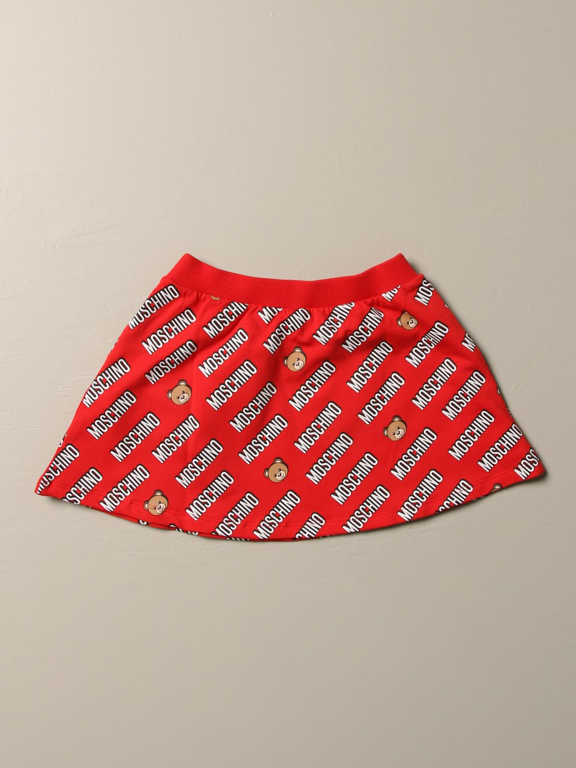Skirt Moschino Baby: Moschino Baby flared skirt with all over logo red 1