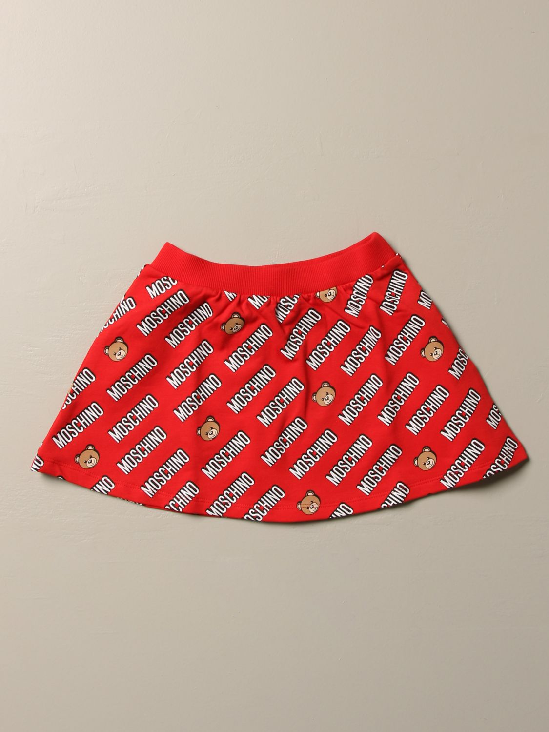 Skirt Moschino Baby: Moschino Baby flared skirt with all over logo red 2