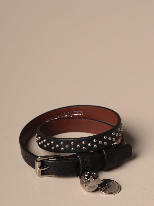 Jewel Mcq Mcqueen: Mcq McQueen bracelet in leather with micro studs black 1