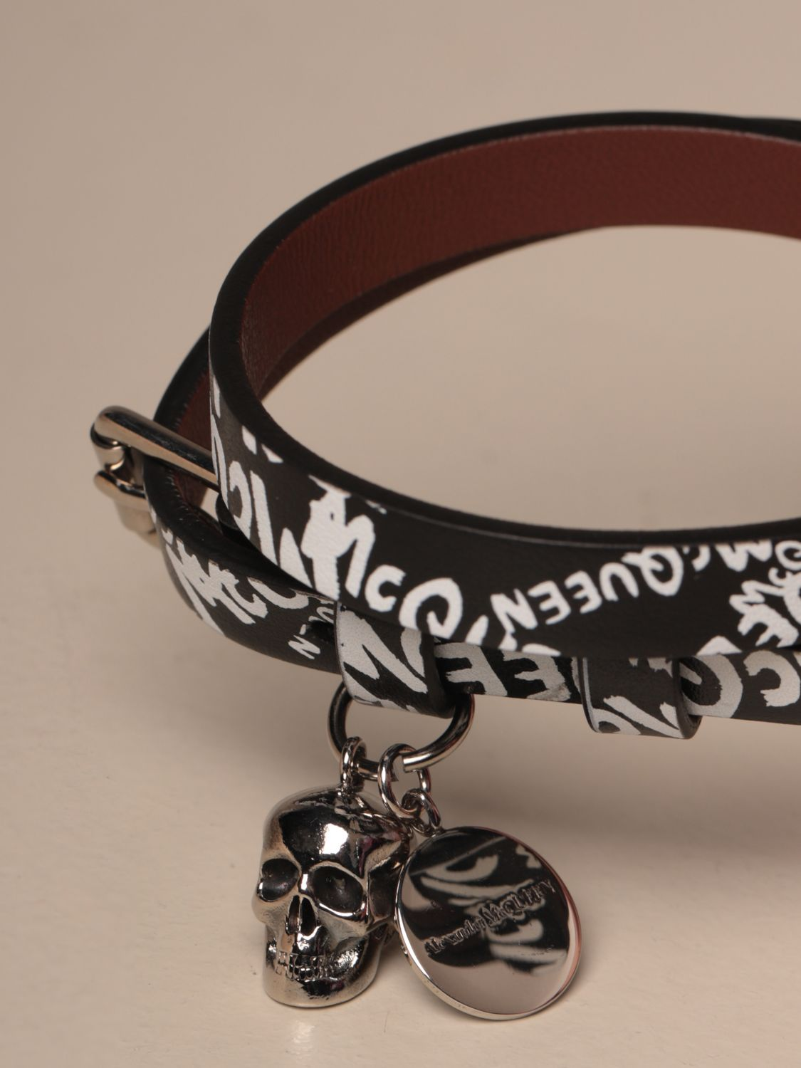 Jewel Mcq Mcqueen: Mcq McQueen leather bracelet with all over logo black 2