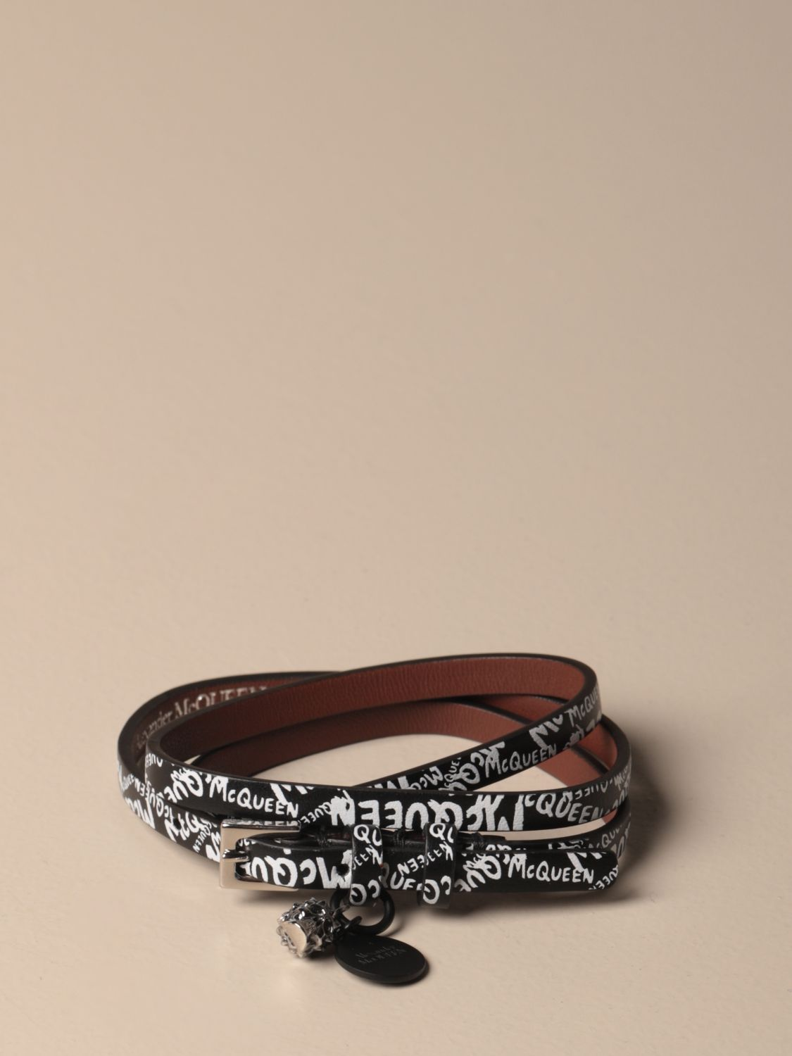 Jewel Mcq Mcqueen: Mcq McQueen leather bracelet with all over logo black 1