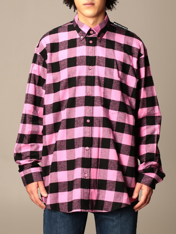 Camicia Balenciaga: Camicia a quadri Balenciaga con logo rosa 1