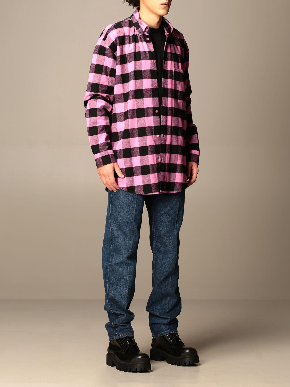 Camicia Balenciaga: Camicia a quadri Balenciaga con logo rosa 2