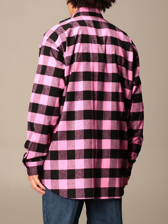 Camicia Balenciaga: Camicia a quadri Balenciaga con logo rosa 3