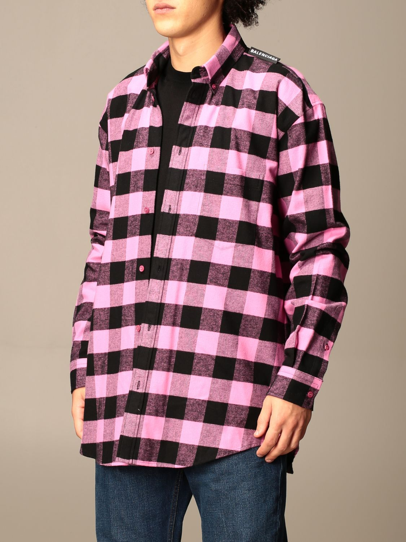 Camicia Balenciaga: Camicia a quadri Balenciaga con logo rosa 4