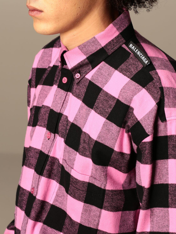 Camicia Balenciaga: Camicia a quadri Balenciaga con logo rosa 5