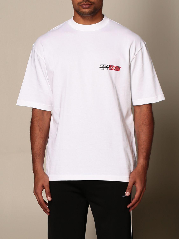 T-shirt Balenciaga: T-shirt Balenciaga in cotone con logo BLNCG 24/7 News bianco 1
