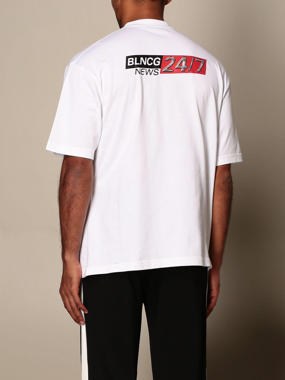 T-shirt Balenciaga: T-shirt Balenciaga in cotone con logo BLNCG 24/7 News bianco 3