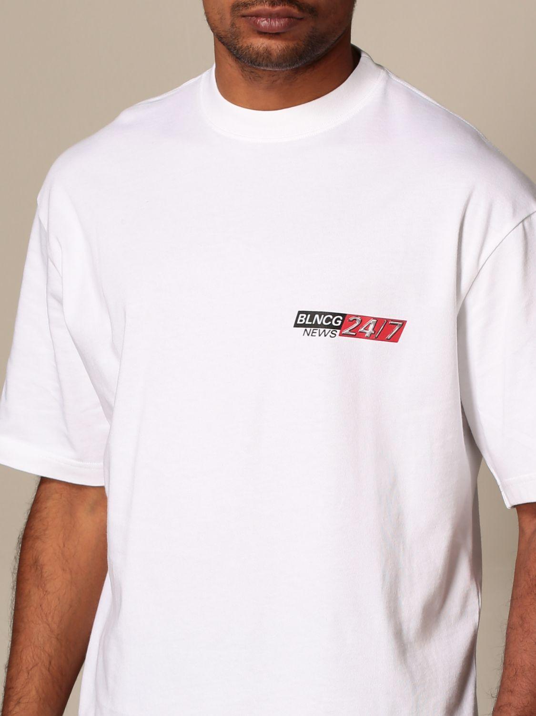T-shirt Balenciaga: T-shirt Balenciaga in cotone con logo BLNCG 24/7 News bianco 4